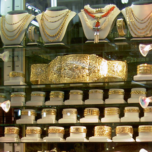 Gold jewelry at the new medina in Casablanca