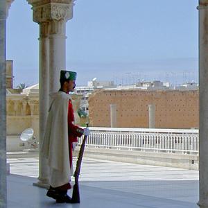 Guard outside Mausoleum of King Mohammed V, Rabat, Morocco