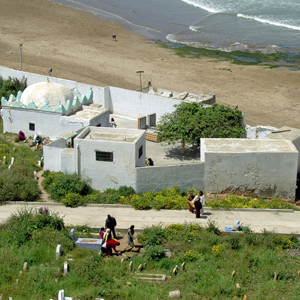 Muslim cemetary and seaside from old quarter, Rabat