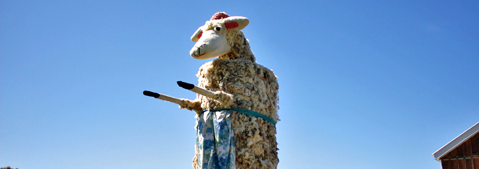 sheep sculpture at Fromagerie Les Folies Bergères (The Crazy Shepherds)