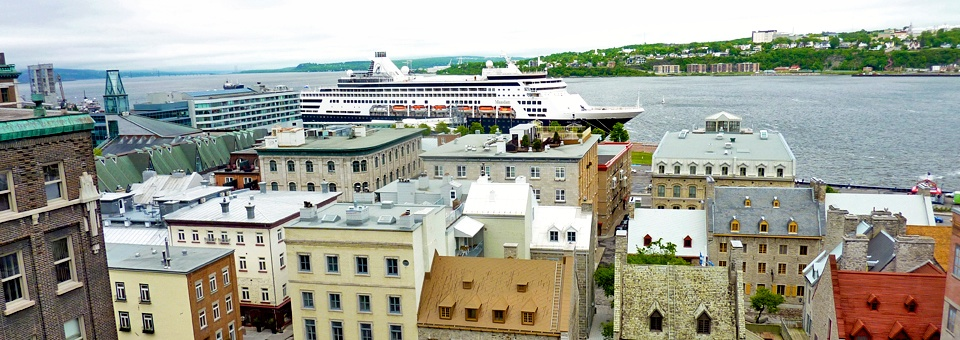 View of Lower Town and Holland America's Maasdam in Quebec City