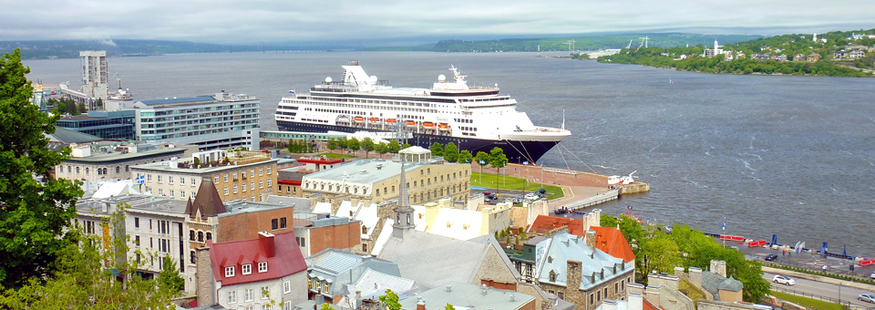 view of Lower Town with Holland America's Maasdam in the Old Port, Quebec City, Canada