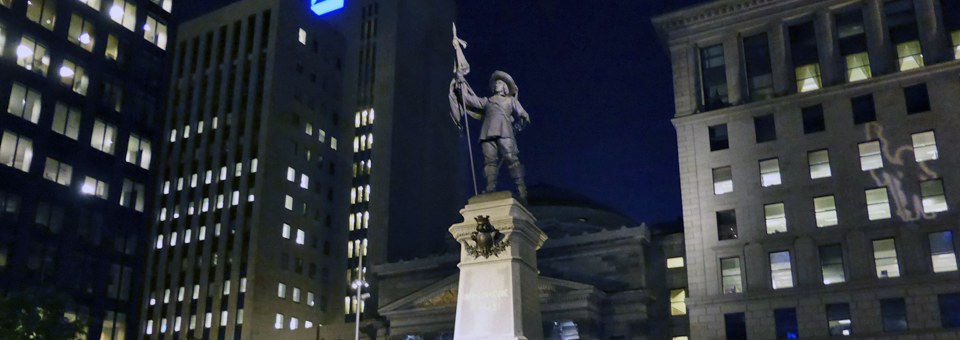 monument to city founder Paul de Chomedey, Sieur de Maisonneuve