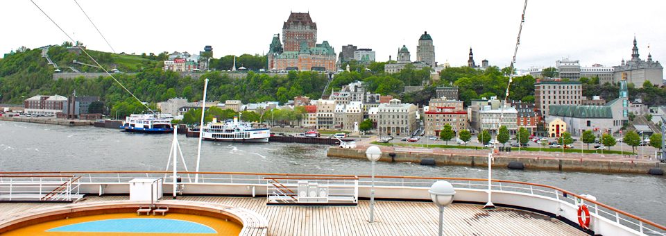view of Quebec City and the Chateau Frontenac from Holland America's Maasdam