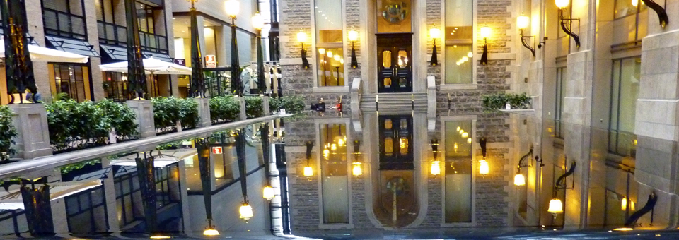 reflecting pool in passageway outside Hotel Intercontinental