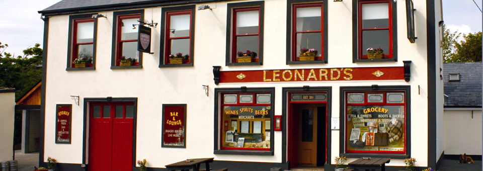 Leonard's, Addergoole, with Titanic-themed windows