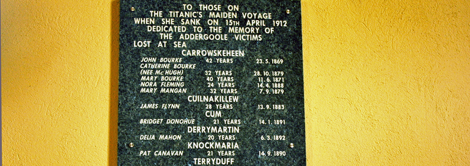 portion of plaque in St. Patrick's Church, Addergoole