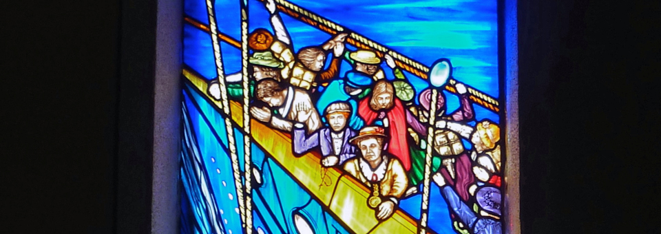 The Titanic Rescue stained glass window, St. Patrick's Church, Addergoole, Ireland