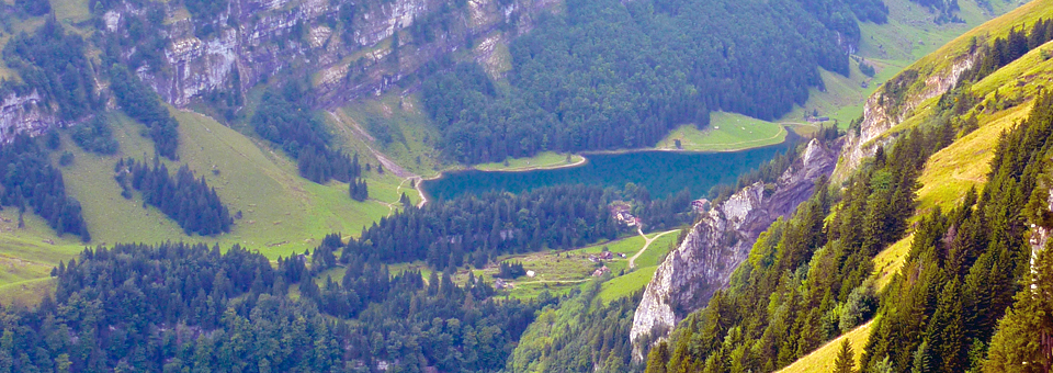 Appenzell hike view of lake, Switzerland