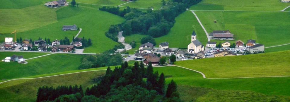 Appenzell hike view of village, Switzerland
