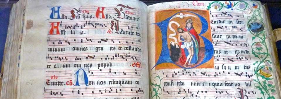 hand lettered and colored book, library of Benedictine Monastery Einseideln