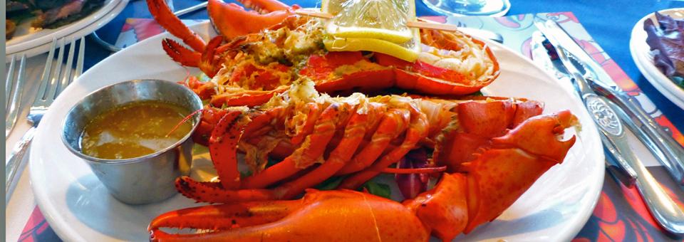 "our dinner -- ""homard à volanté"", all-you-can-eat lobster, at the Riôtel Percé in the Gaspé Peninsula"