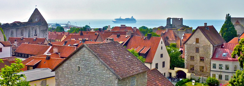 Visby, Gotland, with a view of Royal Caribbean's Vision of the Sea
