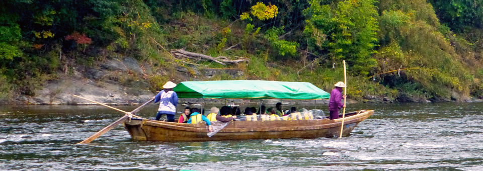 ongboat in the Arakawa River gorge in Nagatoro's Chichibu-Tama National Park