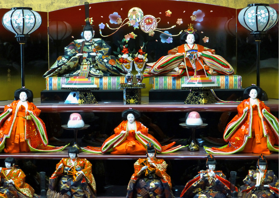 "Hina dolls in Suzuki Ningyo Showroom in Iwatsuki, ""Doll Town"""