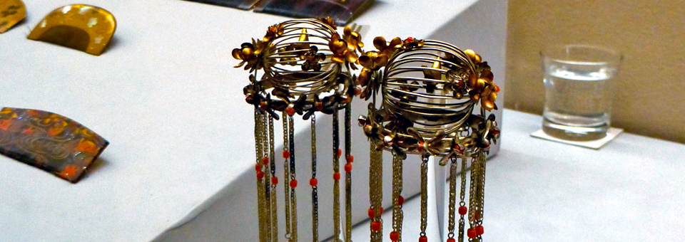 birdcage hairpins for brides at the Hair Comb and Hairpin Museum