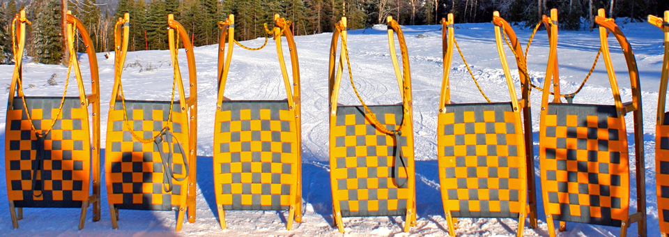 traditional sleds at Le Massif