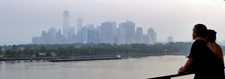 view of Manhattan from the Queen Mary 2