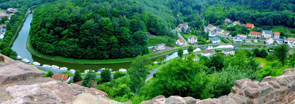 view of Lutzelbourg area from hilltop castle ruins