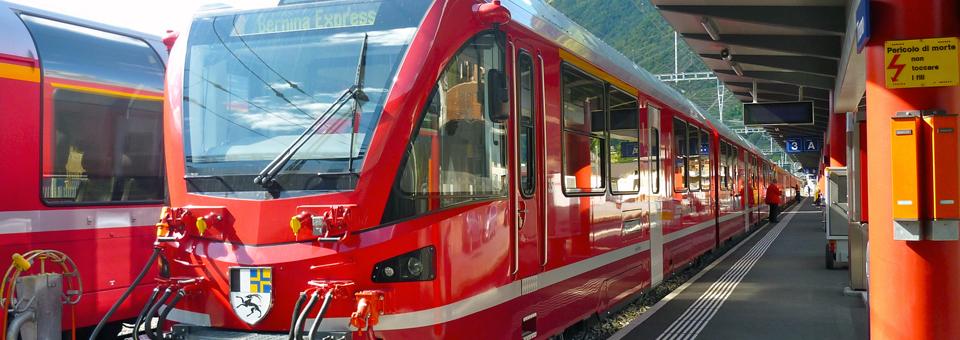Bernina Express at Tirano, Italy, station