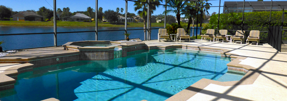 lanai and pool at the rental ouse in Kissimmee, Florida