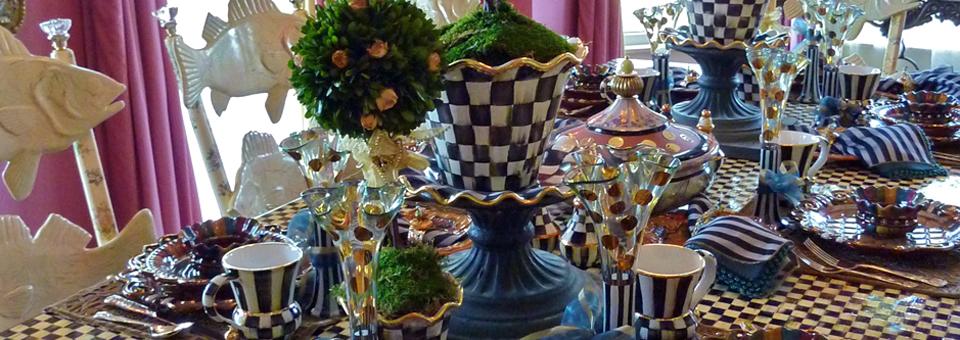 MacKenzie-Childs table setting , Aurora, New York
