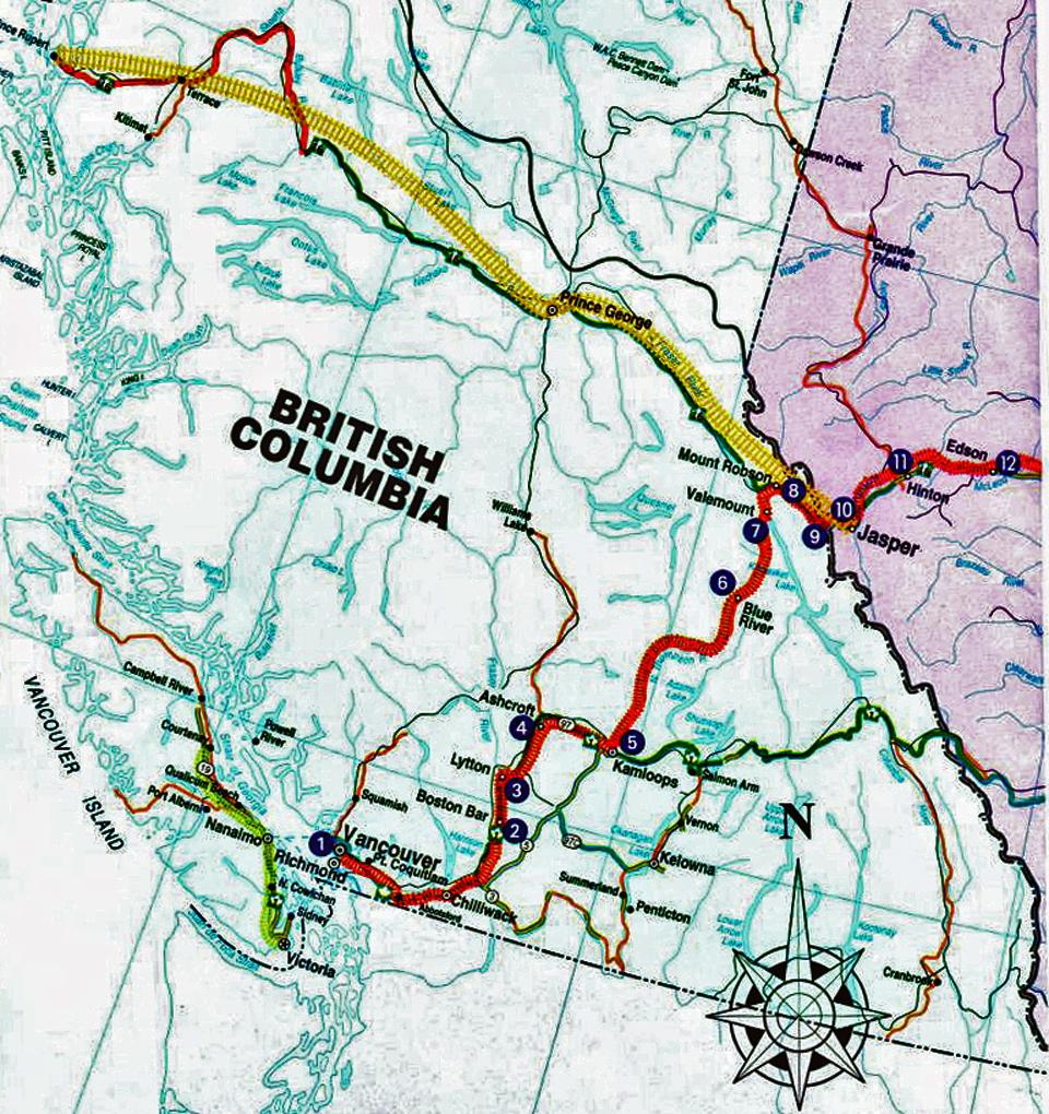 VIA Rail map of Canadian (red) and Skeena (yellow) routes