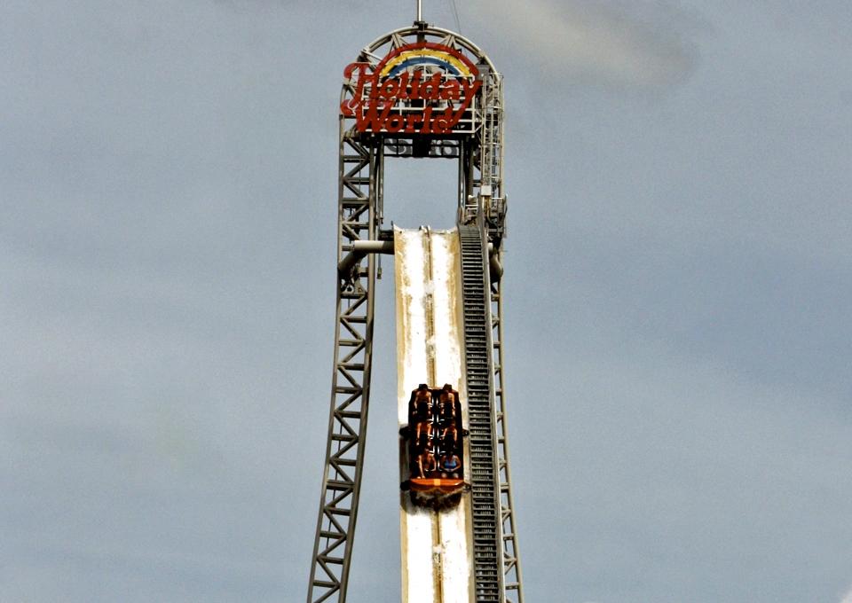 America's tallest flume ride, Pilgrim's Plunge, Holiday World, Santa Claus, Indiana