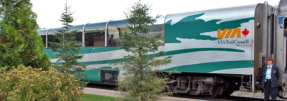 glass-enclosed Panorama car of the Skeena train