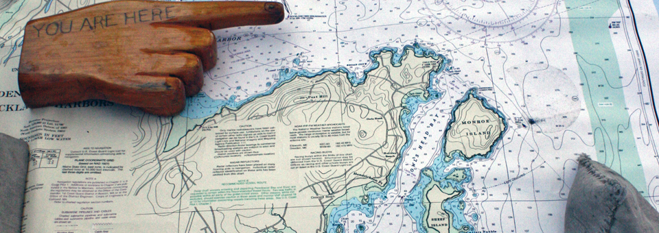 map aboard the schooner Heritage, Rockland, Maine