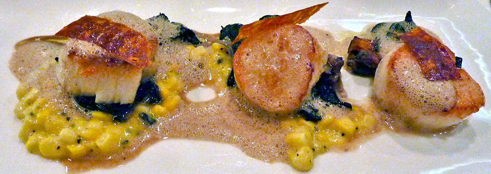 sea scallops with sweet corn, golden chanterelle, black truffle, and thinly sliced chorizo at Warfield's, Victor, New York