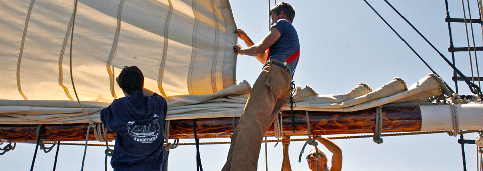 setting sail aboard the schooner Heritage, Rockland, Maine