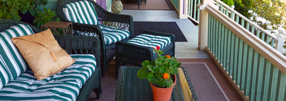 the porch of the LimeRock Inn, in the historic district of Rockland, Maine