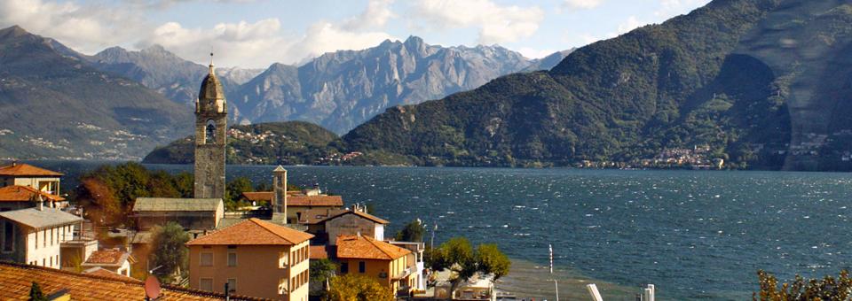 view from bus along Lake Como