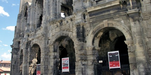 Arles amphitheater where gladiators fought before 22,000 spectators, and now the site of Provençal-style bullfights