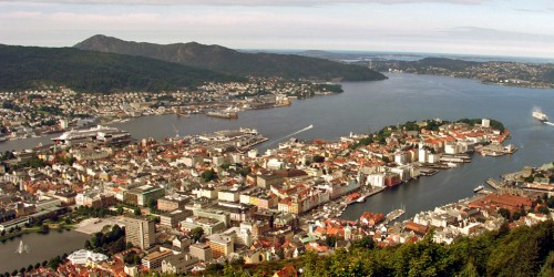 funicular up Mt. Fløien, Bergen, Norway