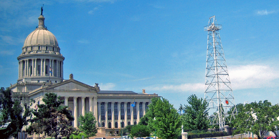Oklahoma Capitol building and oil well, Petunia