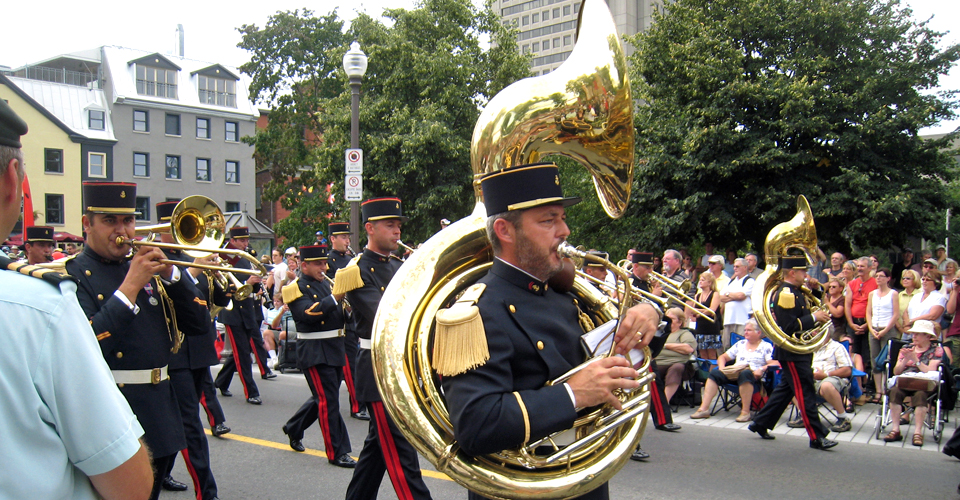 French marching band, Québec City's 400th Anniversary, Canada