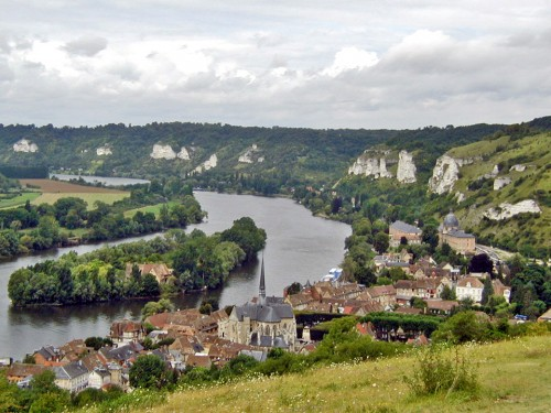 view of Les Andelys from Château Gaillard