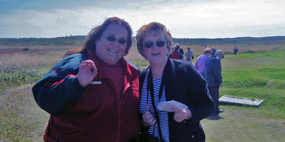 Loretta Decker and Linda Fasteson at L'Anse aux Meadows