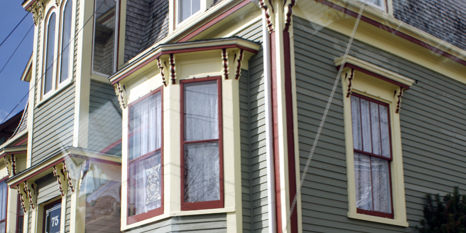 """Lunenburg bump"" windows, Lunenburg, Nova Scotia"