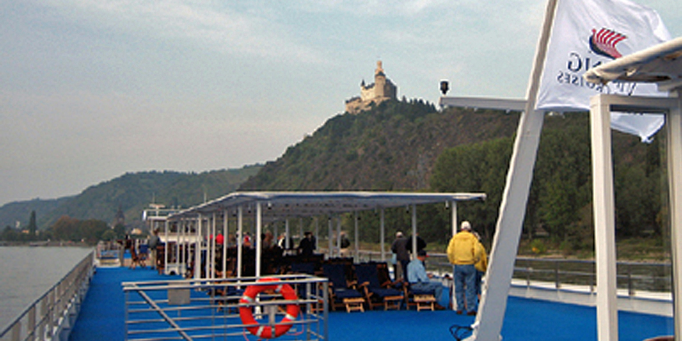 The Viking Sun approaching Marksburg Castle, Rhine River, Germany