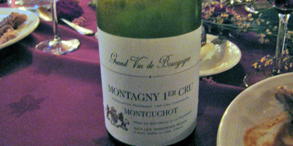Montagny 1er Cru wine at dinner a board La Belle Epoque