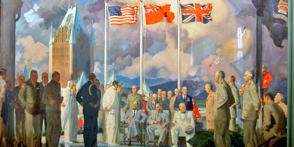 The meeting of the Allied leaders in Quebec City is comemorated in this painting at the Citadel.
