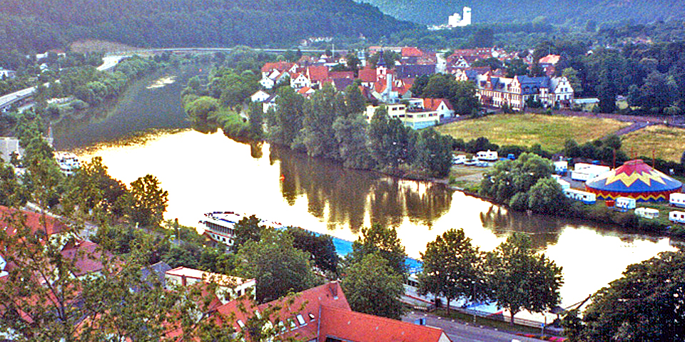 view of our Viking River Cruises ship from Wertheimer Berg, Germany