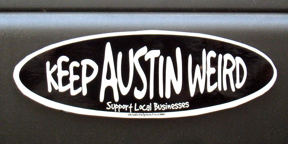 bumper sticker, Austin, Texas