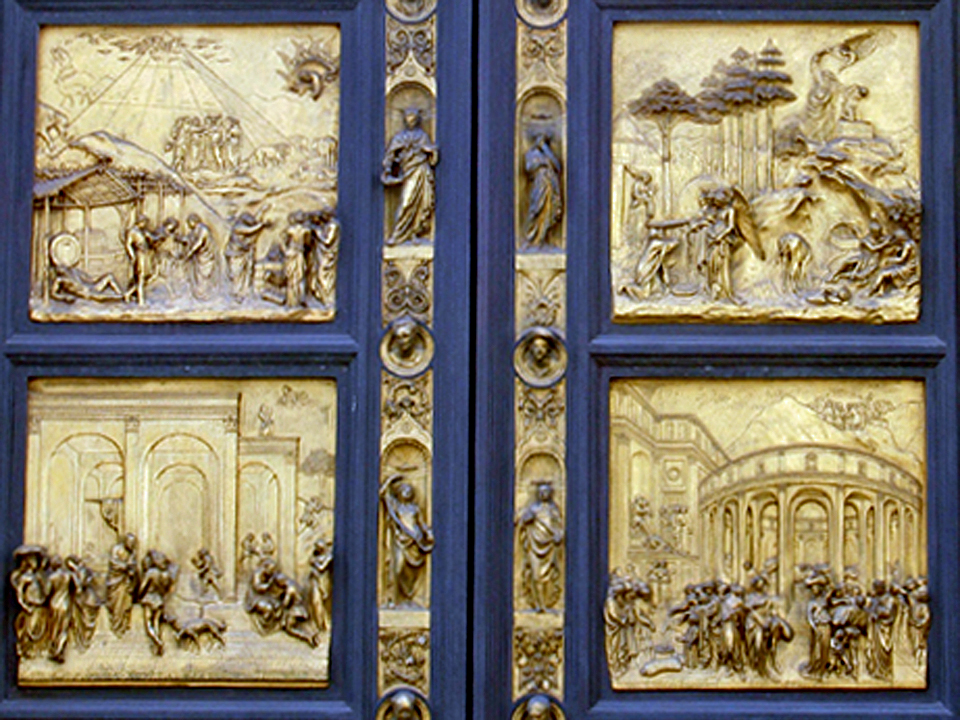 detail. Gates of Paradise on the Baptistry, Florence, Italy
