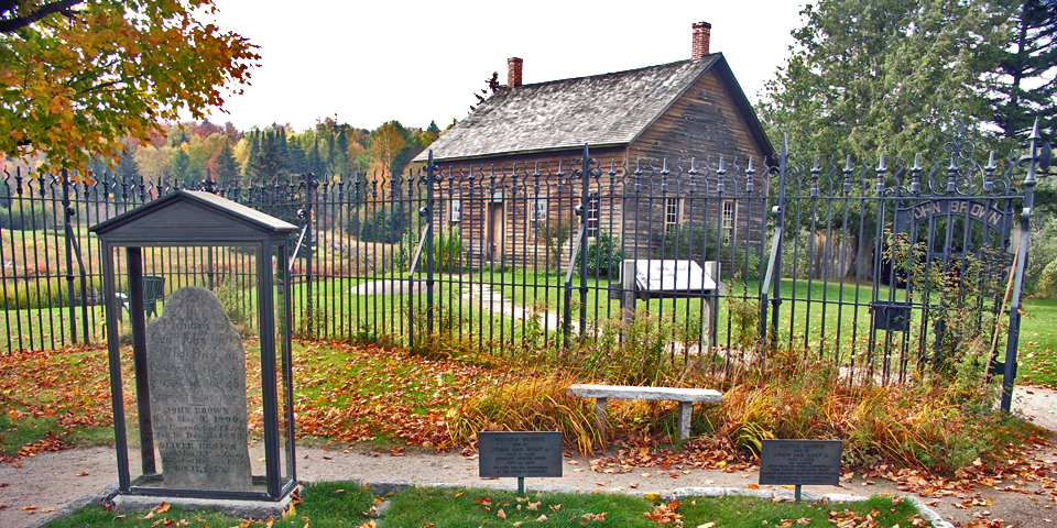 John Brown Farm is the restored farmhouse and grave of the abolitionist hanged for leading the 1859 raid on Harper's Ferry.