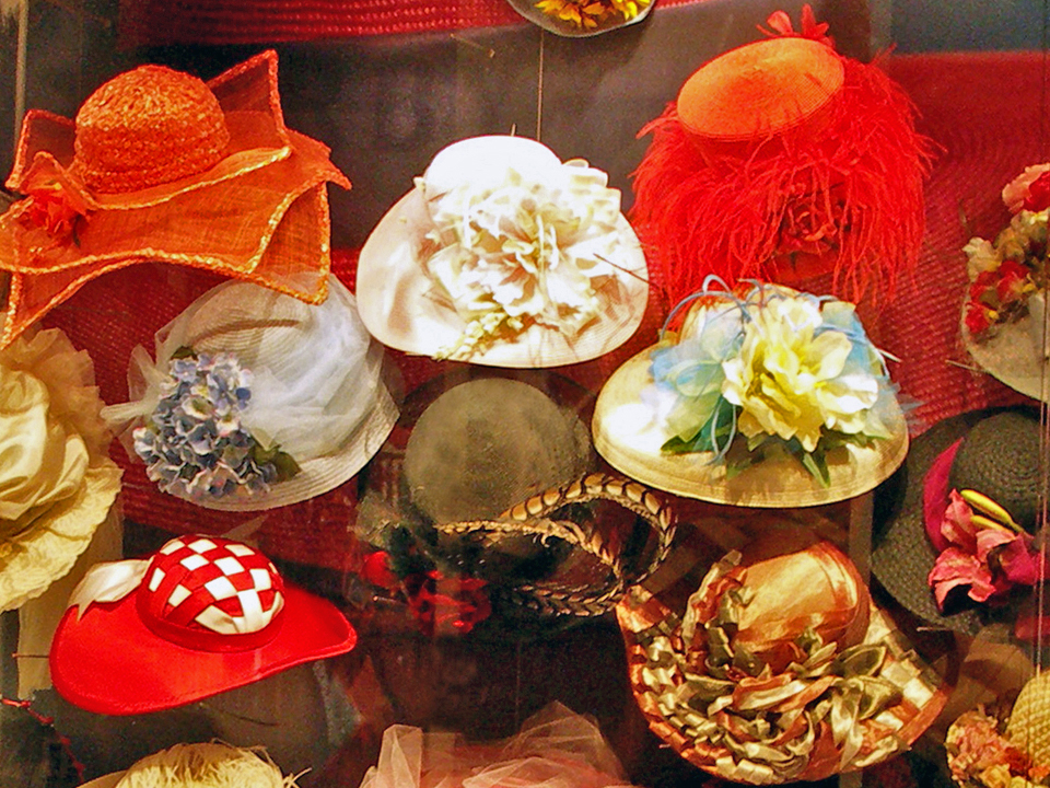 examples of the best hats from the derby contest, Kentucky Derby Museum, Louisville, Kentucky