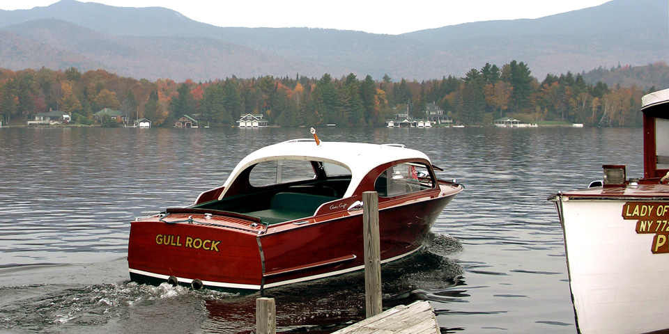 Wooden Chris-Craft boats are in keeping with the natural beauty of Lake Placid.